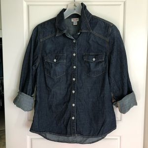 MOSSIMO Supply Co Dark Chambray Top Shirt sz M